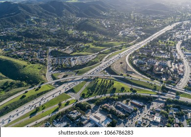 Aerial view of 101 and 23 freeway interchange in suburban Thousand Oaks near Los Angeles, California.