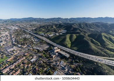 Aerial view of 101 freeway in suburban Thousand Oaks near Los Angeles, California.