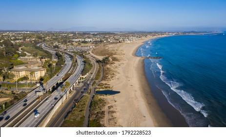 Aerial view of the 101 Freeway through downtown Ventura, California.