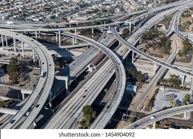 Aerial view of the 110 and 105 freeway interchange ramps near downtown Los Angeles in Southern California.