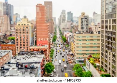 Aerial View of the 1st Avenue, Manhattan, New York City, USA. Tilt-shift effect applied