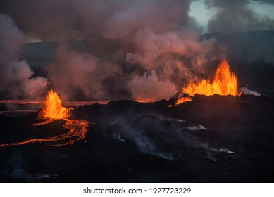 Aerial view of the 2014 Bardarbunga eruption at the Holuhraun fissures, Central Highlands, Iceland.