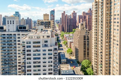 Aerial view of 2nd Avenue in the Upper East Side of Manhattan Borough, New York City, USA