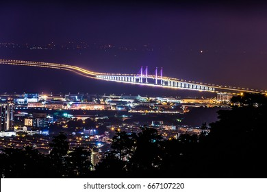 Aerial view of 2nd Penang Bridge view during light up from Balik Pulau Hill