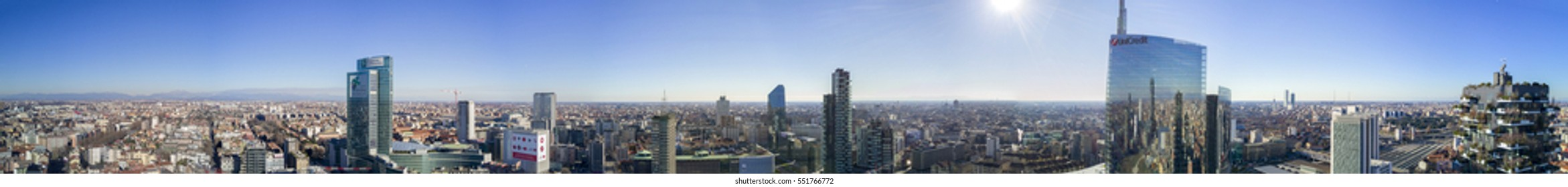 Aerial view of 360 degrees of the center of Milan, Vertical Forest, Unicredit Tower, Palazzo Lombardia, Torre Solaria, Milan, Porta Nuova residences and skyscrapers, Italy, Jan. 6, 2017. New Skyline