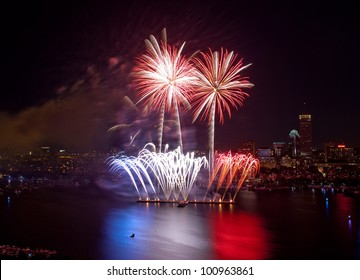 Aerial view of the 4th of July fireworks, Boston
