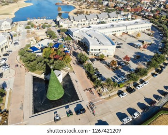 Aerial view 5K Turkey Trot family running event in Cedar Hills, Texas, USA