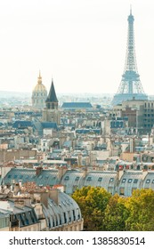 Aerial view of 7th arrondissement with Invalides Dome and Eiffel tower, Paris, France