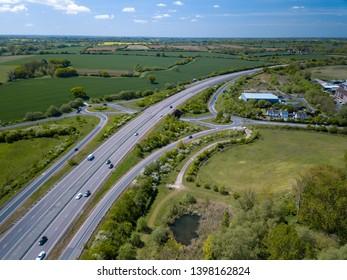 Aerial view of A120 and Chelmsford road Roundabout. Great Dunmow exit.