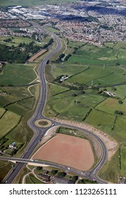 aerial view of the A683 Lancaster bypass owards Morecambe