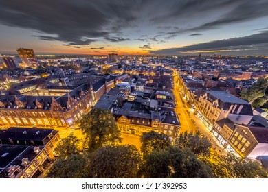 Aerial view of Aa church square in historic town centre of Groningen city at night. The Netherlands.