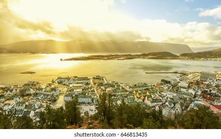 Aerial view of Aalesund, Norway