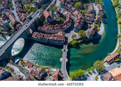 Aerial view of the Aare river flowing around the  Bern old town  on a sunny day, Bern, Switzerland.