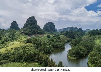 Aerial view of abandon house at Karst mountains