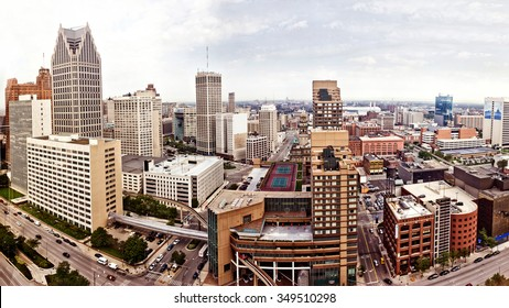 Aerial view of abandoned downtown of Detroit, Michigan