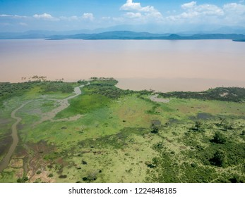 Aerial view of Abaya Lake and Nechisar national park in Ethiopia.
