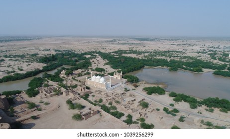 aerial view of abbasi masjid in derawar, punjab pakistan