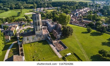 Aerial view Abbey de la Sauve-Majeure, Route to Santiago de Compostela, Gironde, France, UNESCO