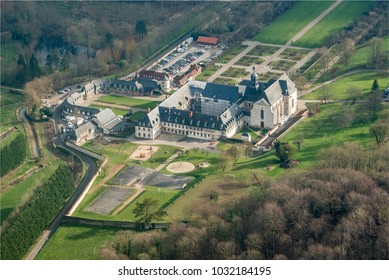 aerial view of the abbey of Valloires in the department of Somme in France