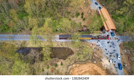 Aerial View of Abe Lincoln Funeral Train Re-Enactment