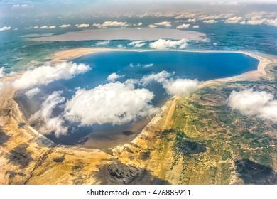 Aerial view of Abijatta and Langano Lakes