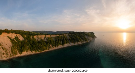 Aerial view about the moon bay slovenia. Unique beach in adriatic sea near by Piran city. Beautiful untouchable nature. It has only one way down to the beach. - Shutterstock ID 2000621609