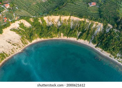 Aerial view about the moon bay slovenia. Unique beach in adriatic sea near by Piran city. Beautiful untouchable nature. It has only one way down to the beach. - Shutterstock ID 2000621612