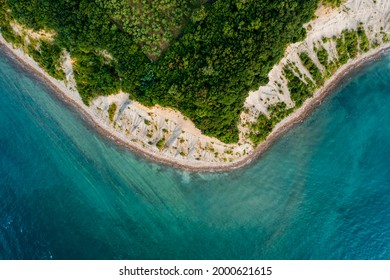 Aerial view about the moon bay slovenia. Unique beach in adriatic sea near by Piran city. Beautiful untouchable nature. It has only one way down to the beach. - Shutterstock ID 2000621615