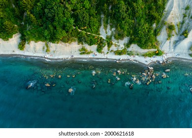 Aerial view about the moon bay slovenia. Unique beach in adriatic sea near by Piran city. Beautiful untouchable nature. It has only one way down to the beach. - Shutterstock ID 2000621618