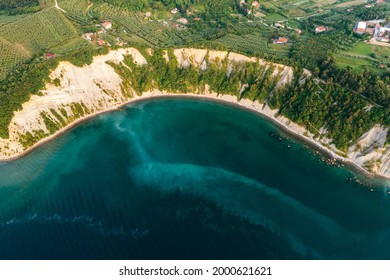 Aerial view about the moon bay slovenia. Unique beach in adriatic sea near by Piran city. Beautiful untouchable nature. It has only one way down to the beach. - Shutterstock ID 2000621621
