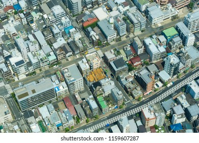 Aerial View from above to the Big City of Tokyo in Japan 2018.