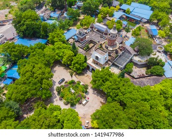 Aerial View above Ci Lake Park in spring, Huangshi, Hubei, China