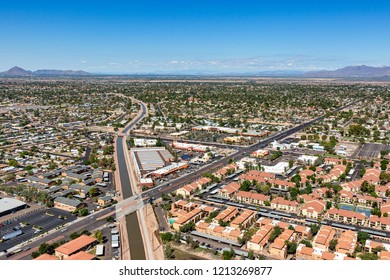 Aerial view from above the consolidated canal in Mesa, Arizona near the intersection of University Drive and Gilbert Road looking to the northwest