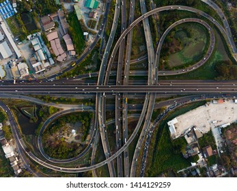 Aerial View Above of Expressway top view, Road traffic an important infrastructure