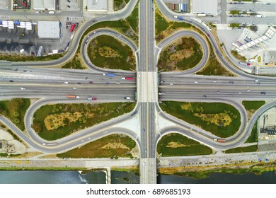 Aerial view above freeway interchange