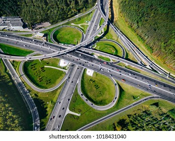 Aerial view above of a massive highway road intersection in Moscow city, Russia. Drone photography