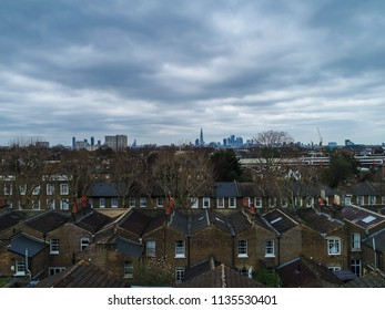 Aerial view above rooftops in Peckham London