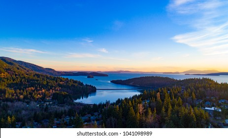 Aerial View Above Teddy Bear Cove Fairhaven Bellingham Bay Washington Overlooking San Juan Islands