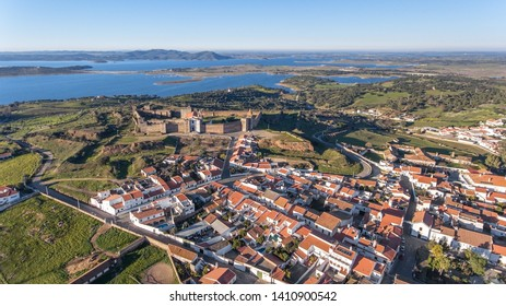 Aerial. View from above village and castle Mourao, district Evora. Portugal.
