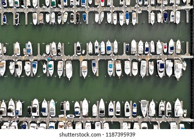 Aerial view of abstract boats.