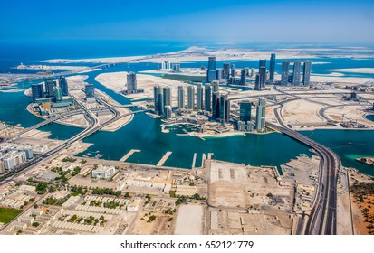Aerial view of Abu Dhabi from helicopter