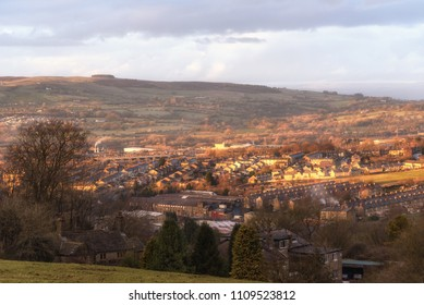 Aerial view of Accrington a small town in Lancashire UK