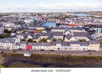 An aerial view, across the River Corrib, of the street known as The Long Walk in Galway, Ireland.