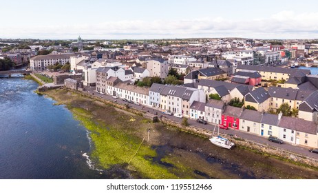 An aerial view across the River Corrib, towards the street known as The Long Walk in Galway, Ireland.