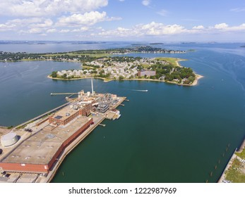 Aerial view of Adams Shore community and Shipyard Point in Boston Harbor in Quincy, Massachusetts, USA.