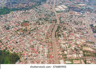 Aerial view of the Addis Ababa, the capital city of Ethiopia