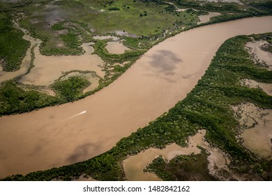 Aerial view of the Adelaide River, wet season