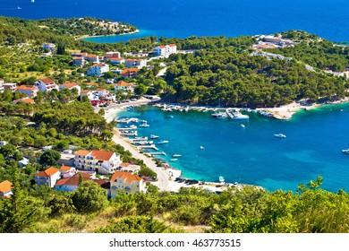 Aerial view of adriatic coast and Drage Pakostanske, Dalmatia, Croatia