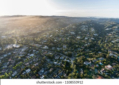 Aerial view of affluent homes and estates in the Bel Air area of Los Angeles, California.