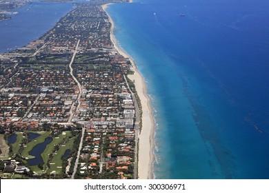 Aerial view of the affluent island of Palm Beach, Florida